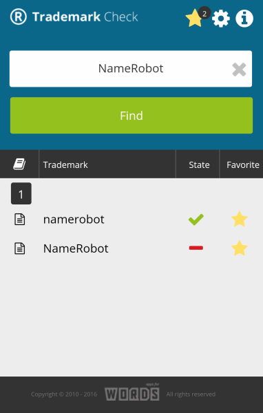 a! Trademark Search App