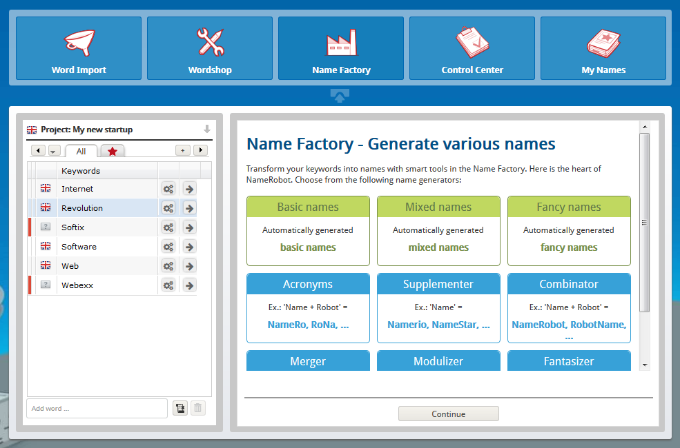 Create company names – Name Factory