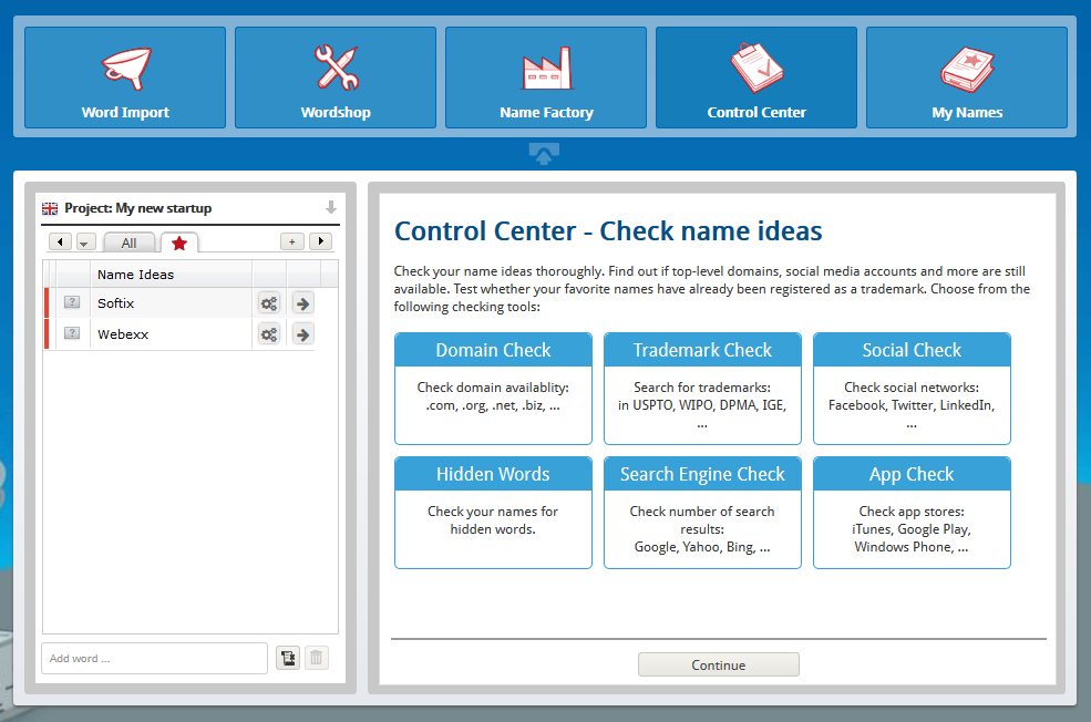 Check company names – Control Center